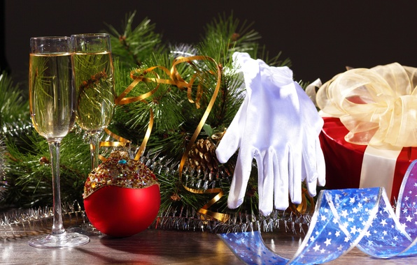 Picture branches, glasses, gloves, tree, drink, champagne, Christmas decorations