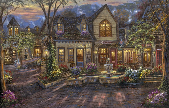 Picture flowers, home, the evening, cafe, shop, fountain, painting, Robert Finale, bench, The Village