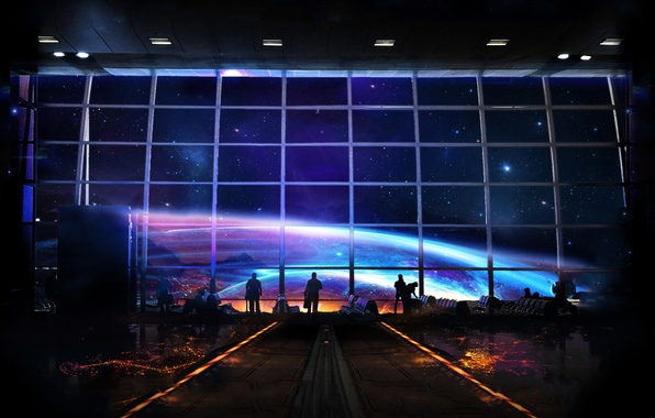 Picture space, people, hall, waiting, art, space station, space station, spaceport
