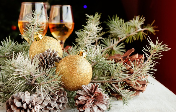 Picture branches, holiday, balls, toys, new year, Christmas, glasses, needles, bumps, pine