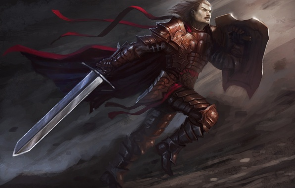Picture tape, movement, sword, warrior, art, male, shield, cloak