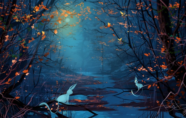 Picture forest, animals, trees, night, fantasy, the moon, art