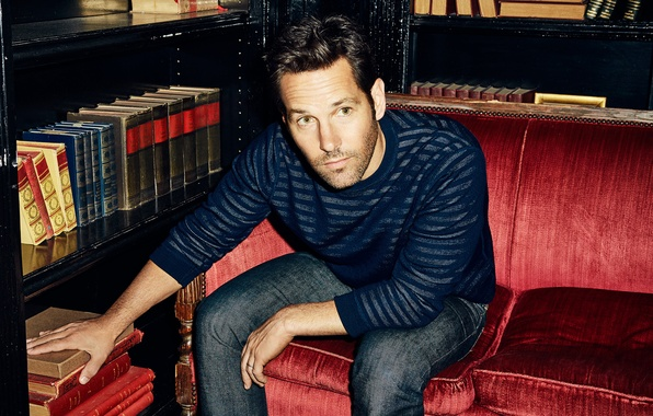 Picture sofa, books, jeans, photographer, actor, journal, photoshoot, jumper, 2015, The Hollywood Reporter, Paul Rudd, Paul …