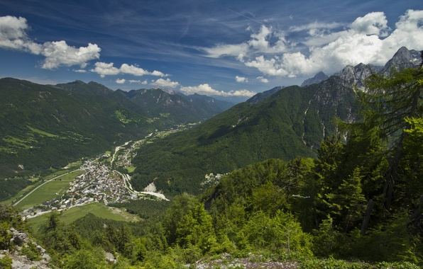 Picture mountains, valley, panorama, town, Slovenia, Slovenia, Kranjska Gora, Kranjska Gora