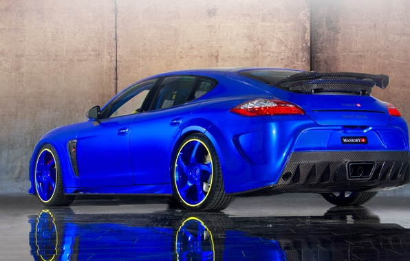 Picture car, auto, Porsche, Panamera, Porsche, blue, tuning, Turbo, back, Mansory