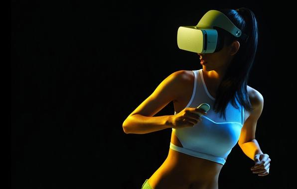 Photo wallpaper white, Mi VR Headset, glasses, black background, girl, brunette, hairstyle, Mike, figure