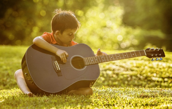 Picture music, guitar, boy