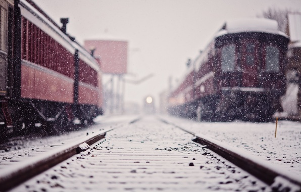 Picture winter, snow, train, station, cars, railroad