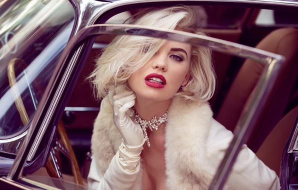 Picture eyes, girl, face, style, retro, model, portrait, blonde, lips, girl, Playboy, car, retro, model, Kayslee …