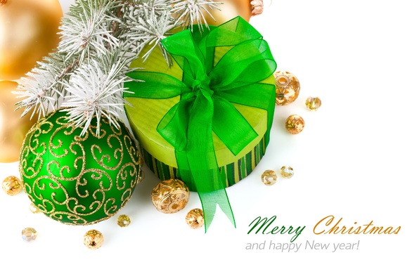 Picture frost, ball, green, bow, Happy New Year, tree, on the branch, Gift, with ornament