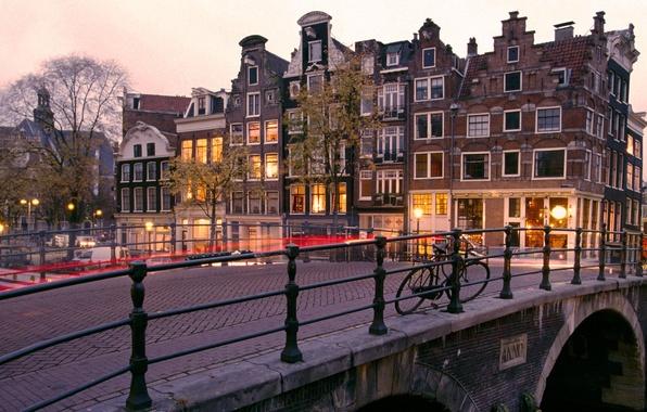 Picture The evening, Bridge, Amsterdam, Bike, Netherlands, Amsterdam, Holland, Netherlands, Prinsengracht and Brouwersgracht Canals