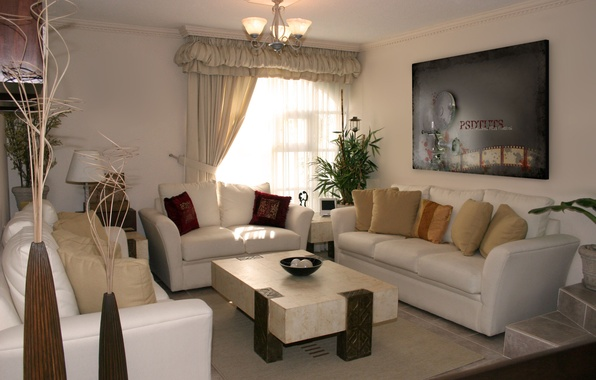 Picture design, comfort, room, interior, picture, window, chandelier, curtains, sofas, stolic