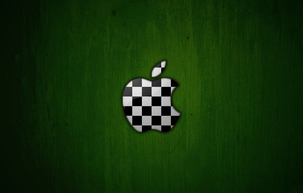 Picture green, background, apple, Apple, logo, chess, soccer ball, colors