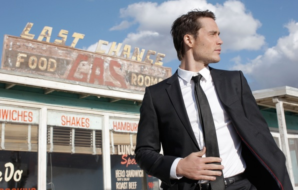 Picture the sky, look, clouds, costume, tie, cafe, actor, male, guy, Taylor Kitsch, Taylor Kitsch