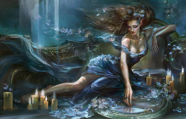 Picture water, girl, flowers, candles, mirror, art, rong rong