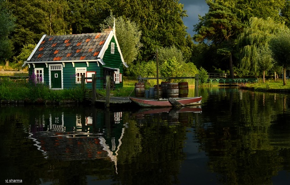 Picture summer, trees, nature, pond, Park, river, boat, house