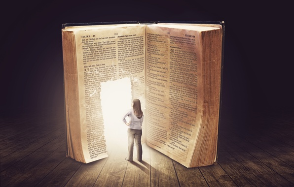 Picture girl, creative, table, the door, book