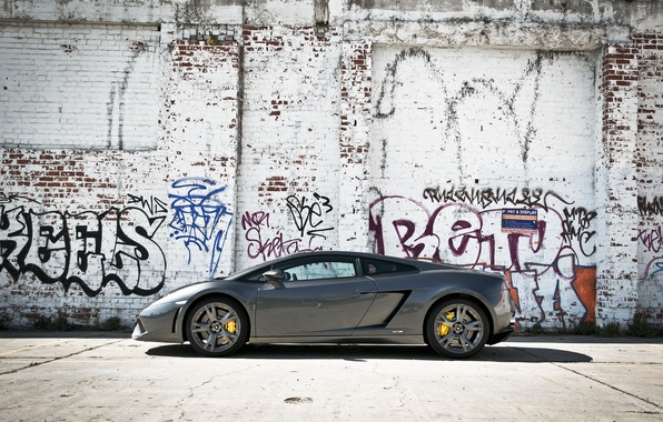 Picture grey, wall, profile, gallardo, lamborghini, grey, graffiti, Lamborghini, lp560-4, Gallardo, yellow slides