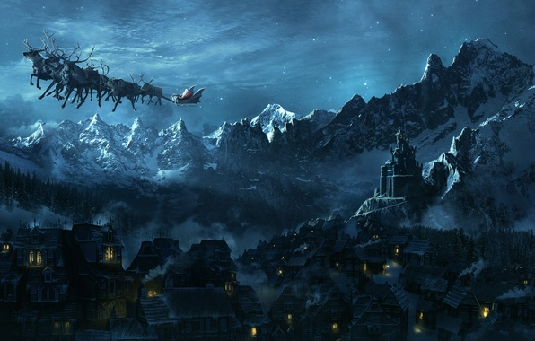 Picture flight, night, lights, castle, mood, holiday, new year, town, Santa Claus, deer, miracle, soon the …
