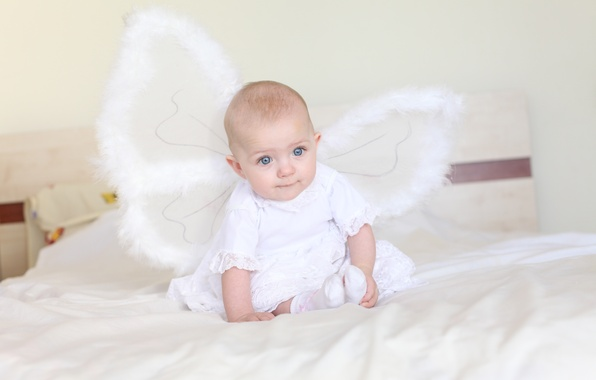 Picture Wallpaper, butterfly, bed, angel, girl, wallpaper, baby, child, angel