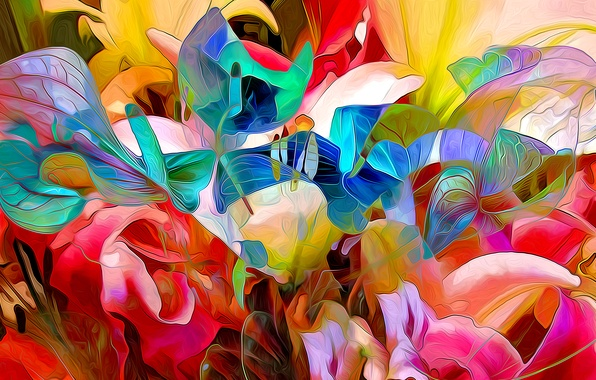 Picture leaves, line, flowers, paint, petals, garden, flowerbed