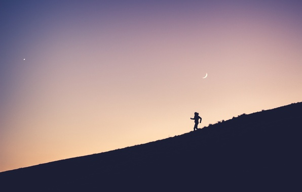 Picture moon, twilight, sunset, hill, dusk, person, running
