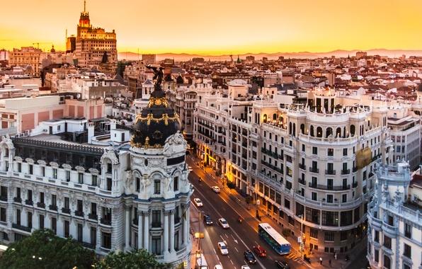 Picture city, Spain, buildings, Madrid