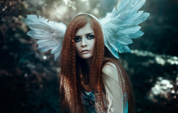 Picture girl, hair, portrait, feathers, makeup, Bella Kotak