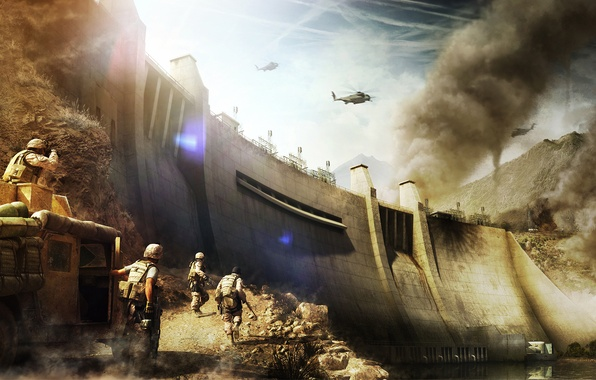 Picture mountains, weapons, war, smoke, group, hammer, soldiers, binoculars, dam, helicopter, point, guys, equipment, weapons, military, …