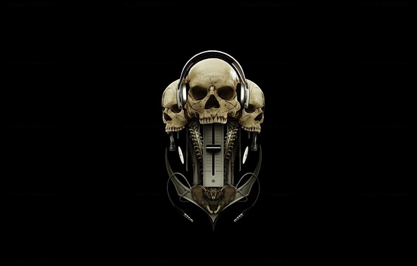 Picture headphones, skull, black background