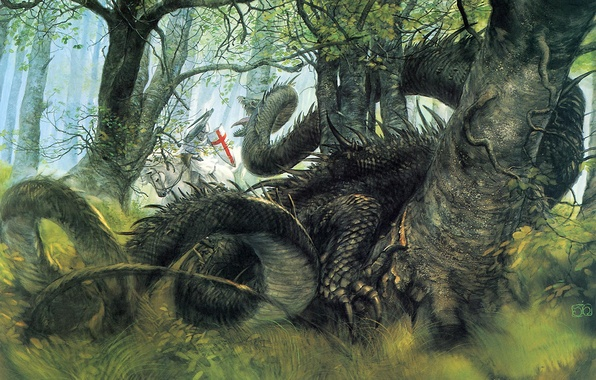 Picture forest, fantasy, dragon, knight, George and the Dragon, John Howe Saint