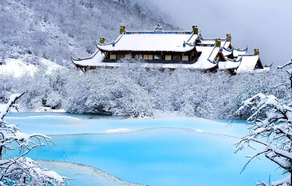 Picture winter, snow, mountains, lake, China, temple, Sichuan, Huanglong