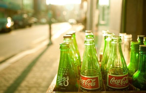 Picture the sun, coca-cola, Coca-Cola, green bottle