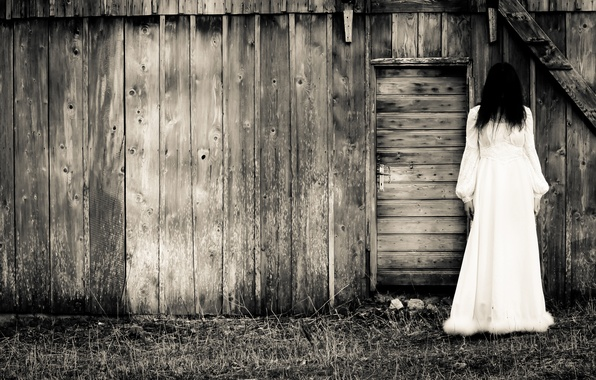 Picture dark, woman, barn, white dress, terror
