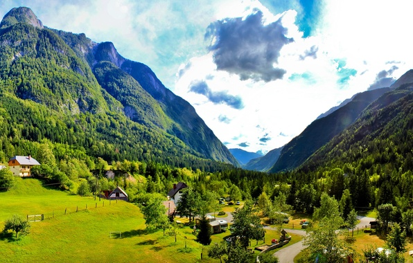 Picture road, the sky, grass, clouds, trees, mountains, nature, home, valley, Slovenia, bovec