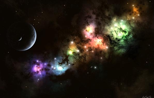 Picture stars, light, the moon, planet, nebula