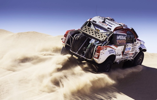 Picture Sand, Auto, White, Sport, Machine, Speed, Race, Toyota, Rally, Dakar, SUV, Rally, 2014, Dune