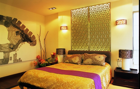 Picture design, lamp, room, bed, pillow, bed, bedroom, lamps, sconce