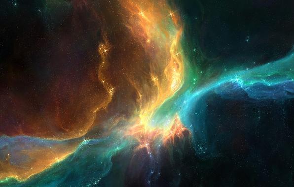 Picture space, stars, lights, galaxy, nebula, Like the Pheonix