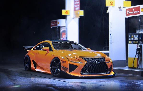 Picture Lexus, Car, Yellow, Tuning, Future, Sport, by Khyzyl Saleem, RCF-A, Gas Station