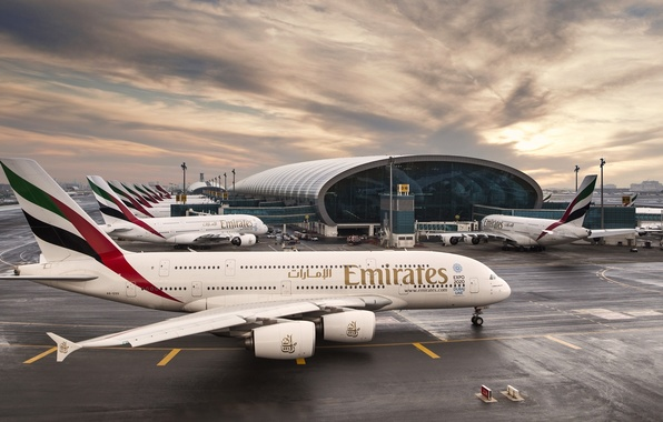 Picture The sky, Clouds, Sunrise, The plane, Airport, The building, Dubai, Clouds, Sky, Dubai, Sunrise, UAE, …