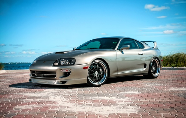 Picture the sky, clouds, pavers, Toyota, Supra, Toyota, supra