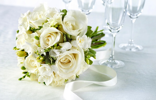 Picture flowers, table, roses, bouquet, glasses, tape, white