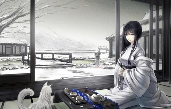 Picture winter, cat, girl, snow, mountains, house, art, the tea party, kimono, sitting, kikivi