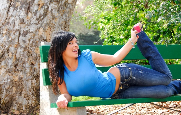 Picture chest, smile, tree, model, jeans, Mike, brunette, Denise Milani, bench