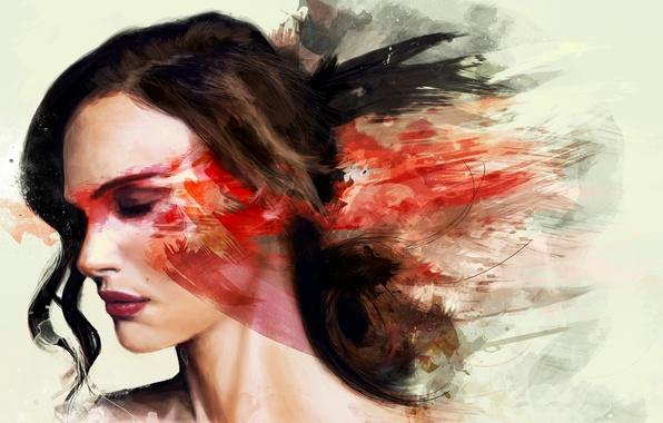 Picture color, girl, paint, figure, Portman, rkie, Natalie
