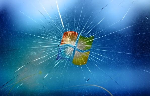 Picture glass, blue, broken