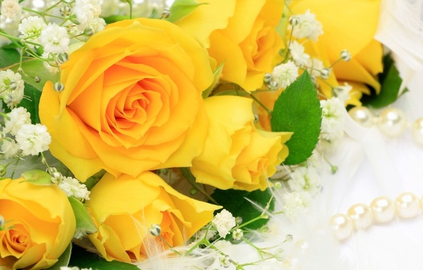 Picture flower, flowers, roses, bouquet, yellow, petals, pearl, beads, buds, beautiful, yellow, pearl