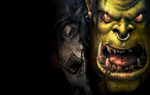 Picture language, eyes, face, Shine, monster, armor, nose, ring, mouth, fangs, green, orcs, black background, drool, …