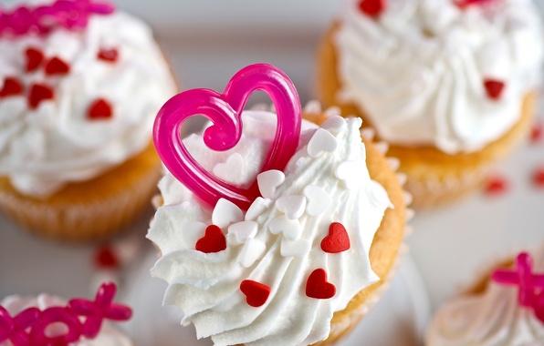 Picture heart, sweets, decoration, cake, cream, dessert, cupcake